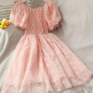 Women Off Shoulder Dress Floral Daisy Ruffle Mesh Lolita Puff Sleeve Midi