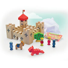 17PC SMALL WOODEN CASTLE IN A BAG - 222131 BUILD CREATE MAKE CRAFT DRAGON KING
