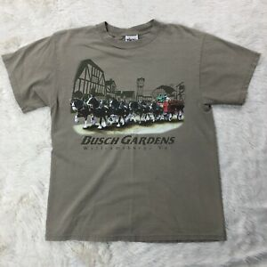 Vtg Busch Gardens Williambug Clydesdale Horses Shirt Sz Medium Short Sleeve Tee