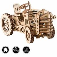 ROBOTIME DIY Tractor Wooden Model Building Kits Gear Clockwork Toys Kids Boys