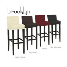 "NEW! MODERN WOOD/LEATHER BARSTOOL - 32"" CONTEMPORARY BAR/COUNTER STOOL -BROOKLYN"