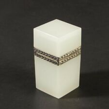 Vintage French opaline hinged jar silver plated hammered metal rectangular white