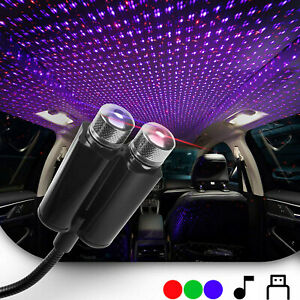 Dual Color Sound Activated LED USB Star Light Car Roof Party Ambient Galaxy Lamp