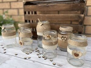 Rustic Wedding Jars Table Centrepiece Mixed Glass Hessian Vintage Love Heart X7