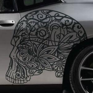Large Sugar Skull Tattoo Car Vinyl Vehicle Graphic Decal Side Door Hood Detailed