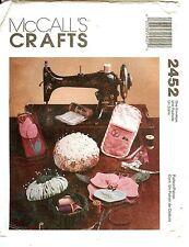 McCalls Pattern 2452 Sewing Accessories Travel Kit Chair Caddy Pincushion Box