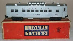 1950's Lionel Trains #2432 Clifton Illuminated Vista-Dome Passenger Car in Box