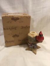 """Jim Shore """"Lodge Cardinal On Branch� Taper Candle Holder"""