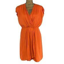 Antonio Melani Dress 6 Med Silk Bl Orange Faux Wrap Pleat Lined Vibrant V Neck