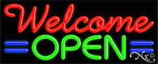"""New """"Welcome Open"""" 32x13x3 W/Lines Real Neon Sign w/Custom Options 10959"""