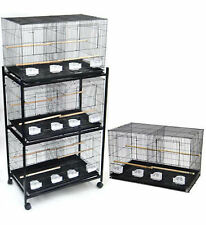 "Lot of Large 4 Bird Breeding Flight Bird Cages 30x18x18""H With Stand"