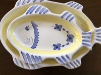 Two CALECA Oval Fish Platters Made & Handpainted in Italy Pastel Blue and Yellow