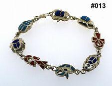 Hallmark Egyptian Pharaoh Silver Bracelet,Scarab,Ankh Eye of Horus with Gemstone
