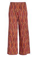 Free People XS Alina Wide Leg Pull On Red Orange Yellow Retro Pants