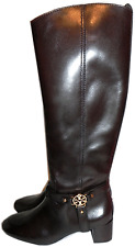 TORY BURCH Donovan Gold Logo Riding Boot tall knee Flat Equestrian Bootie 7.5-38