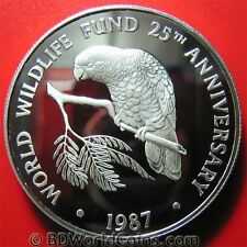 CAYMAN ISLANDS 1987 $5 SILVER PROOF AMAZON PARROT WWF WILDLIFE FUND CROWN 38mm