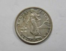 Philippines United States Silver 20 Centavos 1945 D Anvil Liberty Volcano SCARCE