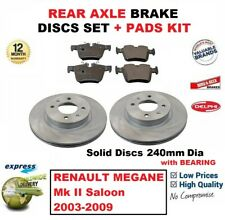 FOR RENAULT MEGANE Mk II Saloon 2003-2009 REAR BRAKE PADS + DISCS with BEARING