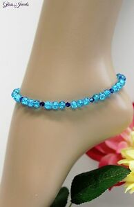 Glass Jewellery Silver Anklet Beads Blue Turquoise Strand Length 26,5 CM #J082