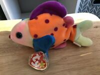 VGC Tagged Retired Ty Beanie Baby Plush Lips the Rainbow Fish Excellent