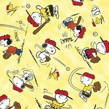 Tossed Charlie Brown on Yellow ~ All Stars BaseBall ~ cotton fabric Peanuts