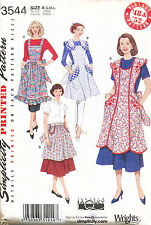 SIMPLICITY SEWING PATTERN 3544 MISSES 10-20 RETRO/VINTAGE STYLE FULL/HALF APRONS