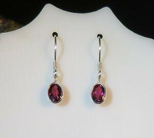 Stunning natural Cherry Purple Tourmaline 4x6mm sterling silver hook earrings 🍒