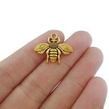 20 x Antique Gold Tone Bumble Bee Charms Pendants Beads for Jewellery Making