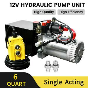 12V 6 QUART SINGLE ACTING HYDRAULIC POWER PACK UNIT FOR DUMP TRAILER 3200PSI