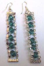 boucle d'oreille percées bijou vintage couleur argent perles vertes cristal 3312