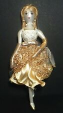 Beautiful Hand Blown/Painted Glass Fancy Lady in GOLD & WHITE Dress