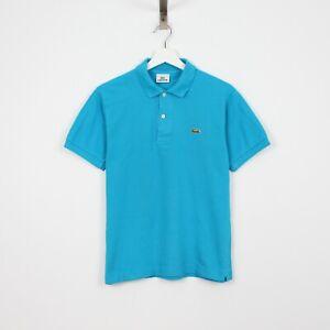 J53 Vtg Lacoste Polo Men Ocean Blue Short Sleeve Cotton Shirt Size 2 XS