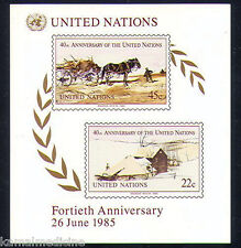 UN (NY) 1985 MNH Imperf SS, Horse Cart, Farm