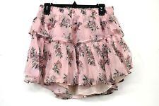 LoveShackFancy Womens Pink Canopy Pull On SmockedRuffle Floral Silk Miniskirt  L