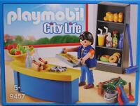 PLAYMOBIL 9457 Hausmeister mit Kiosk Werkzeug Äpfel Getränke Donut Semmeln NEU