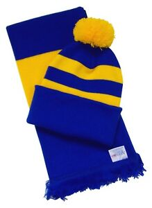 Blue and Gold Hat and Scarf Set - Made in the UK