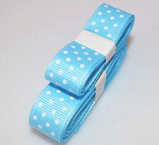 "Light blue 3yds 5/8"" (15 mm)Printed Party Polka Dot Grosgrain Ribbon"
