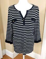 Charter Club Womens Top Size XL Striped Black White Pima Cotton Pockets Luxury