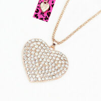 Betsey Johnson Crystal Rhinestone Love Heart Pendant Sweater Chain Necklace Gift