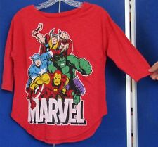 Ladies EUC Cute 2012 MARVEL HEROES Knit TOP Hulk IRONMAN Capt America THOR Red S