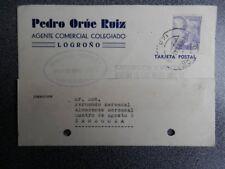 LOGROÑO LA RIOJA TARJETA PUBLICITARIA PEDRO ORÚE 1945
