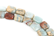 10x8mm AQUA TERRA JASPER Rectangle Gemstone Beads, natural, blue green, gja0023