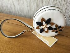 MICHAEL KORS OPTIC WHITE LEATHER WITH APPLIQUÉ FLOWERS COIN PURSE WRISTLET BNWT