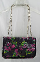 "BETSEY JOHNSON Black Pink Roses Sequin Crossbody Shoulder Flap Bag Chain 8"" x12"""