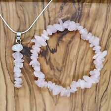 Rose Quartz Gem Chip Pendant Necklace & Bracelet Gift Set Love Healing Reiki