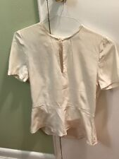 A.L.C.  Cream  Silk Split Open Back Blouse Top size 6