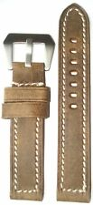 20mm XL Panatime Brown Vintage Leather Bomber Watch Band w/White Stitch 125/85