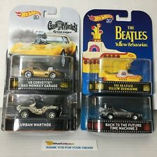 4 Car Set Retro G Case * 2018 Hot Wheels Gas Monkey, Beatles, BTF, Halo