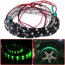 "4pcs 24"" Car Green LED Wheel Neon Glow Flexible Soft Strip Lights Fender Lamps"
