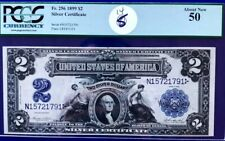 "1899 $2 Silver Certificate PMG AU50 ""Mini Porthole"" George Washington Large Size"